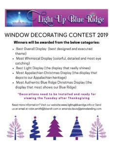 Window Decorating Contest 2019 Light Up Blue Ridge